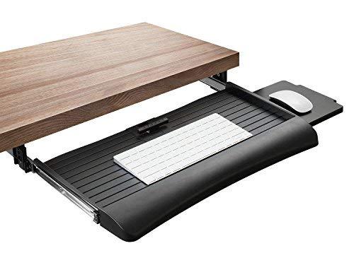 Mount-It. Tastatur Schublade unter Schreibtisch mit Maus Plattform,-Schiebetür Untertisch-Computer Tastatur Tablett 53,3cm breit, schwarz