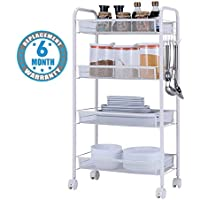 Voroly 4 Tire Rolling Cart Metal Utility Space Saving Kitchen Home Living Room Storage Organizer Racks and Self with Wheel