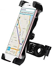 Macngrid® Bike & Motorcycle Phone Mount, with Shock-Absorbing Pad & Four Slide-Proof Clamps, Universal Holder for Motorcycle/Bike Handlebars, Fits iPhone Samsung Galaxy GPS - any iOS Android Smartphone