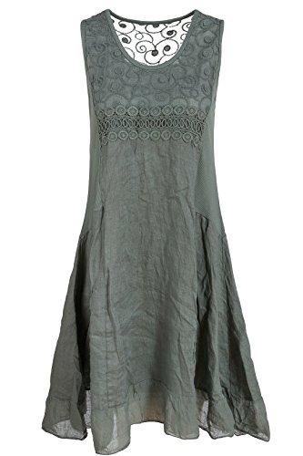 GS-Fashion Leinenkleid A-Linie Damen Sommer mit Spitze KLeid rmellos knielang A-Form Ver2-Olivgr