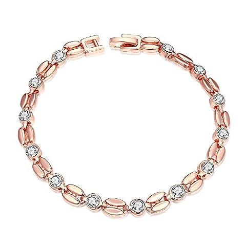 Bodya Luxe Plaqué or rose clair Oxyde de Zirconium avec zircons ronds Graines/Button Maillon Bracelet de tennis Bracelet