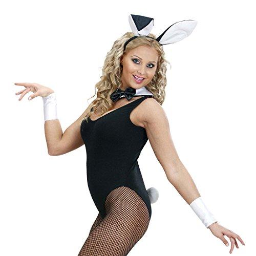 Playboy Kostüme (Bunny Set Hasenkostüm 4 tlg. Hase Ohren Halsband Schwanz Manschetten Sexy Hasen Kostüm Playboy Kostümset Damen Sexy Häschen Verkleidung Karnevalskostüme)