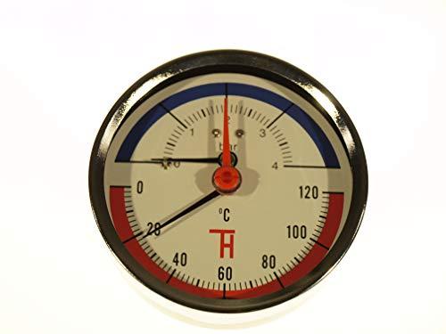 THERMIS Thermomanometer Anschluss von hinten G1/2 (80 mm) 0-120°C (0-4 bar) Temperatur Manometer 3082 -