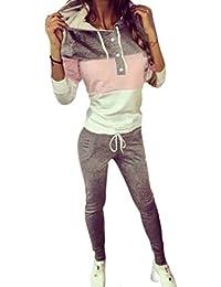 Kootk Femmes 2Pcs Sweat À Capuche Sweat-Shirt Ensemble - Aux Femmes  Décontractée Survêtement Ensemble Sport Gym Jogging Plein Air Sport… 8355e156fe4
