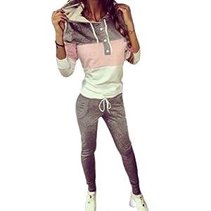 Meedot Damen Sportanzug Traingsanzug Jogginganzug Frauen 2 Teilig Freizeitanzug Kapuzenpullover Sweatshirt + Sporthosen Sport Casual Jogging Running