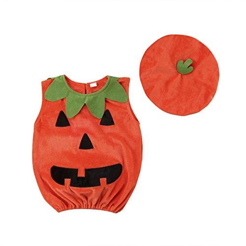 WangsCanis Cosplay Halloween Kürbiskostüm Süßes Säugling Kürbis Kostüm Jumpsuits mit Mütze für Baby Kind (1-2 Jahre - 1 Jahr Alter Baby Junge Kostüm