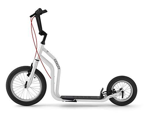Yedoo City Scooter Run-Run 16/12 Zoll weiß | Tretroller mit Offroad-Reifen | Nachfolgemodell des City New