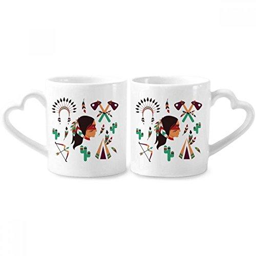 DIYthinker Indian Native American Primitive Tribe Paar Tassen Keramik-Liebhaber Tassen Herz Griff 12 Unzen Geschenk Mehrfarbig