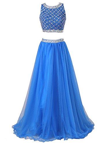 Callmelady® Robe de Soirée Longue Femme Deux Pieces de Ceremonie Fille Cocktail Pour Mariage Bleu Royal