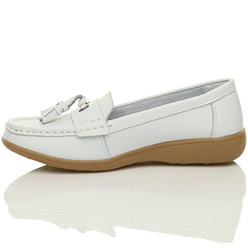 Botas Cunha Mocassins Confortáveis Couro baixos Tamanho Brancas Senhoras Salto Pequeno Sapatos Borla zwqqvEB