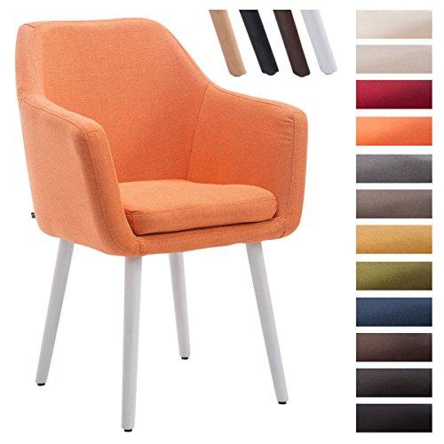 Clp sedia visitatore utrecht, tessuto, telaio in legno di quercia, imbottita, con braccioli, capacità di carico 150 kg, sedia conferenza, sedia riunioni arancione colore base: bianco