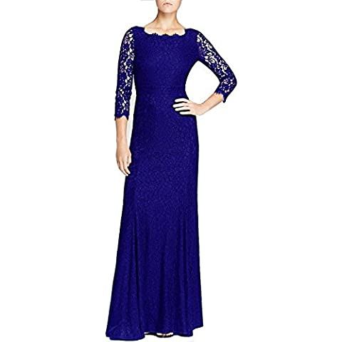 HanLuckyStars Vestido de Noche Largo Encaje Elegante con 3/4 Mangas para Mujer (Negro/Azul)