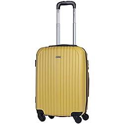 ITACA - T71550 Maleta trolley 50 cm cabina ABS. Equipaje de mano. Rígida y ligera. Mango telescópico, 2 asas 4 ruedas. Ideal vuelos low cost Ryanair Vueling, Color Mostaza