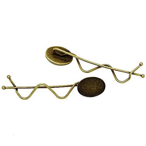 20pcs minimalist simple Hair slide with 13*18mm oval bezel, hair