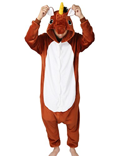 Très chic mailanda pigiama donna uomo animale cosplay animato costume camicie da notte carnevale halloween (s per altezza 148-160cm, marrone unicorno)