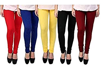 Jai Ganesh Women's Cotton Lycra Leggings (12345, Multicolour, Free Size) - Pack of 5