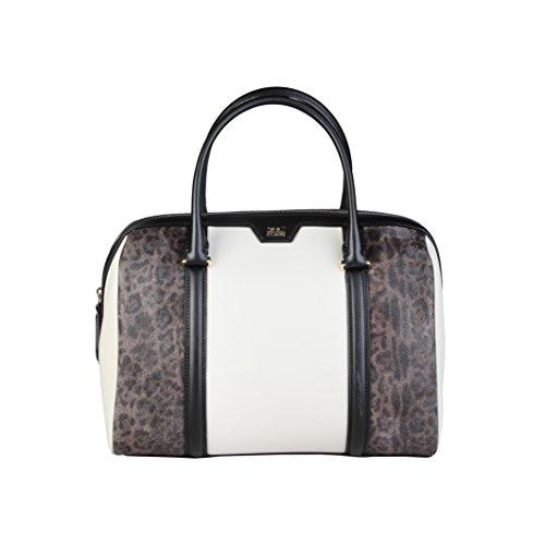 Roberto Cavalli Class Signature Collection borsa pelle 31 cm black offwhite