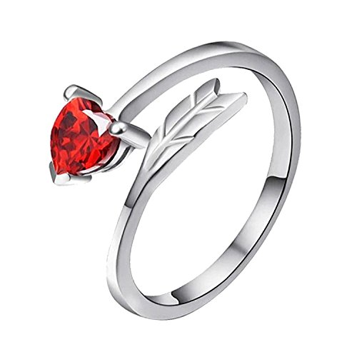 Valentine Gift Om Jewells Rhodium Plated Blush Red Love Heart Arrow Adjustable Ring Beautified with Cubic Zirconia Stone for Girls and Women FR1000907