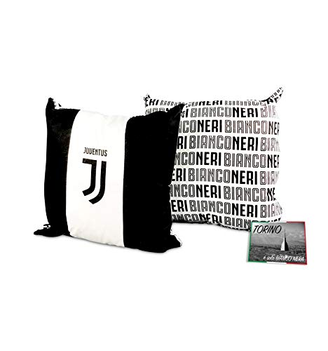 tex family Cuscino ARREDO Juve Ufficiale Juventus Cm. 40x40 White e Cartolina Torino È