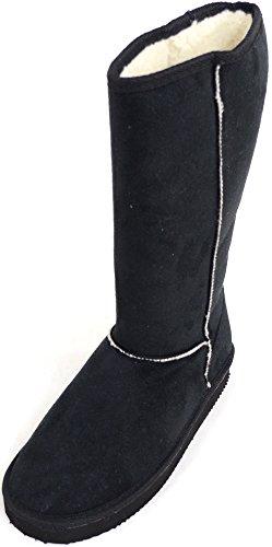 Robe longue d'extérieur en imitation daim Bottes, rouleau Up/Down design et chaud intérieur en polaire - Noir - noir, 42