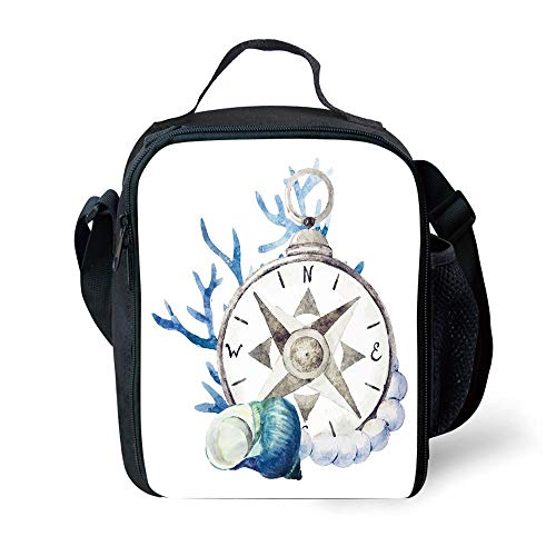 ZKHTO School Supplies Compass,Watercolor Marine Life Theme Seashell Compass Voyaging Vibrant Color Print Decorative,Navy Blue Eggshell for Girls or Boys Washable