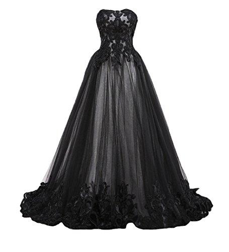 O.D.W Femme Longue Robe de MarišŠe Vintage Retro Robes de Gothique Blanc+Noir 36