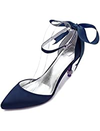Qingchunhuangtang@@ Satén de Seda Boda Zapatos Zapatos de Moda Grandes Astilleros High-Heeled señaló Zapatos de...