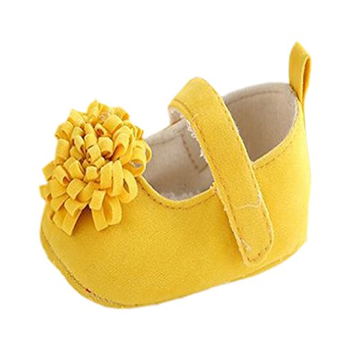 Baby Girl First Walker Princess Flower Soft Soled Anti-Slip Crib Mary Jane Shoes Yellow