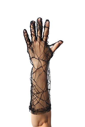 DRESS ME UP - RH-011-black Handschuhe Damen Netz Spitze Schwarz Halloween Spinnennetz Spinne Spider Gothic Vampir (Halloween Kostüme Spinnennetz)