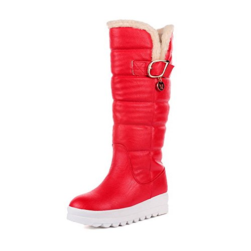 AgooLar Damen Niedriger Absatz Rein Schließen Zehe Ziehen Auf Stiefel Rot
