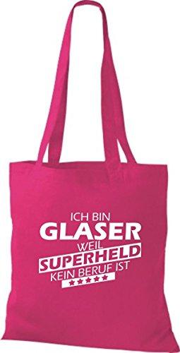Shirtstown Stoffbeutel Ich bin Glaser, weil Superheld kein Beruf ist fuchsia
