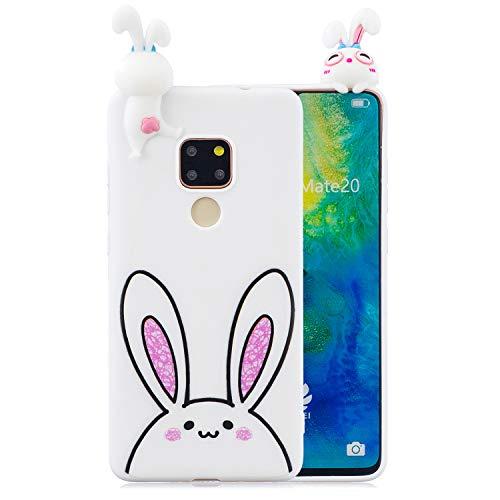Yobby Hülle für Huawei Mate 20,Weiß Silikon 3D Cartoon Tiere Motiv Handyhülle,Teenager Mädchen Kinder Süß Kawaii Bunny Schale,Weich Gummi Flexibel Gel Kratzfest Backcover -