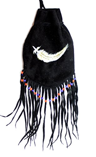 NEU Indianer Lederbeutel SCHWARZ Tabakbeutel Tasche Leder Beutel Fransen handbemalt FEDER 10 x 13 (25) cm. Medizinbeutel (Handbemalte Leder-taschen)