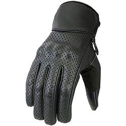 Newfacelook perforado de verano de calidad de cuero motocicleta moto guantes protección de nudillo