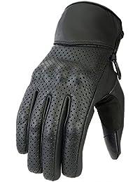 Newfacelook Hommes Perforé cuir Moto Gants été protection Motorbike Gloves