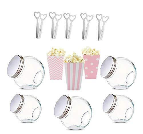 Marry & You 5 Candy Bar Gläser 892ml, 5 Candy Bar Zangen Edelstahl, 22 Popcorn Boxen Süssigkeiten,