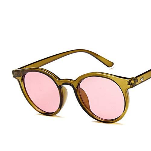 Sonnenbrillen NEW Red Blue Round Sunglasses Women Brand Designer Fashion Pink Yellow Sun Glasses Vintage Retro Shades C4 Olive green