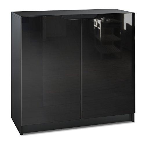 Vladon Kommode Büroschrank Aktenschrank Büromöbel Logan, Korpus in Schwarz matt/Fronten in Schwarz Hochglanz -