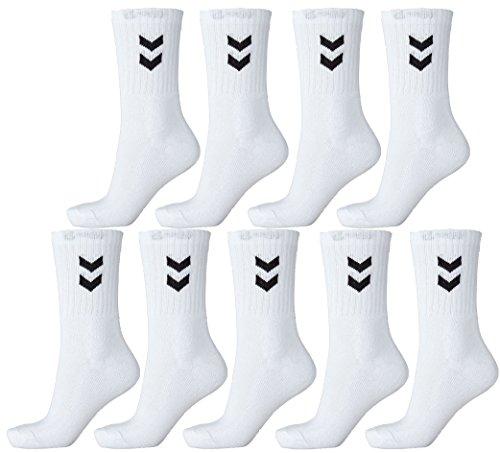 Hummel 9er Pack Socken Unisex Sportsocken (weiß, 36 - 40 (Size 10))