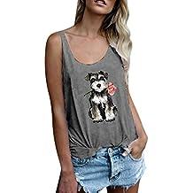 LuckyGirls Mujer Chaleco de Sin Manga Estampado de Perros y Rosas Casual Camisetas Camisola