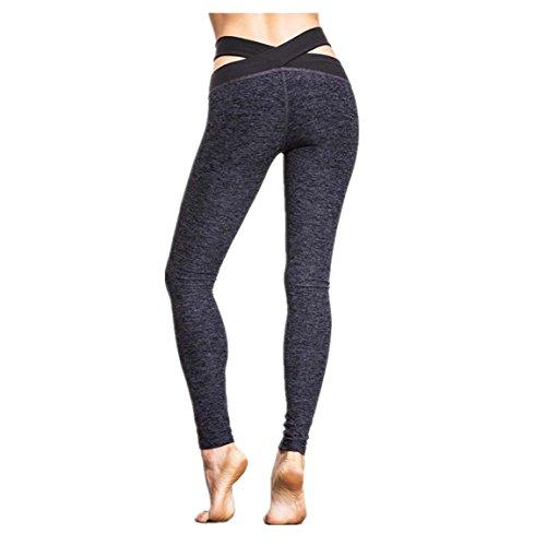 Gilet Donna Fitness Yoga, Mingy Correre la palestra di stretching sport pantaloni pantaloni Grigio scuro