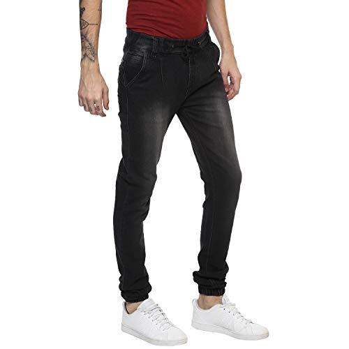 Urbano Fashion Men's Charcoal Grey Slim Fit Jogger Jeans Stretchable