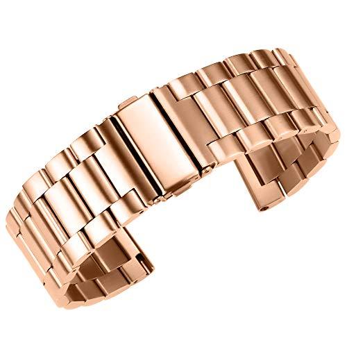 Gold Premium-Edelstahl Uhrenarmbänder Uhrenarmband gerade Ende 20mm / 22mm / 24mm Doppelschnalle Armband poliert Rose