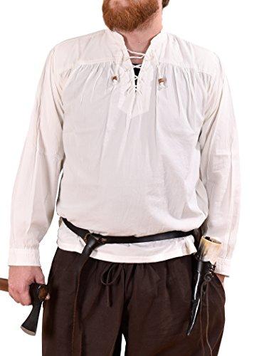 Battle Merchant Mittelalter-Hemd Ludwig, weiß LARP-Kleidung Größe XL