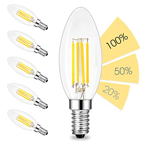 linovum fourSTEP Dim E14 LED 6er Pack Kerze Filament - 'Dimmbar ohne Dimmer' mit jedem Lichtschalter 4W 400lm 230V warmweiß -