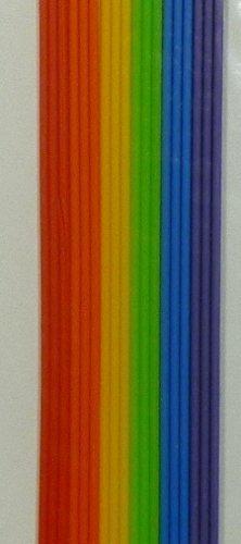 Wachs Rundstreifen, Regenbogen - Länge 22 cm, Ø 2mm, 6 x 3 Stück - 9642 - zum Verzieren und Gestalten von Kerzen.