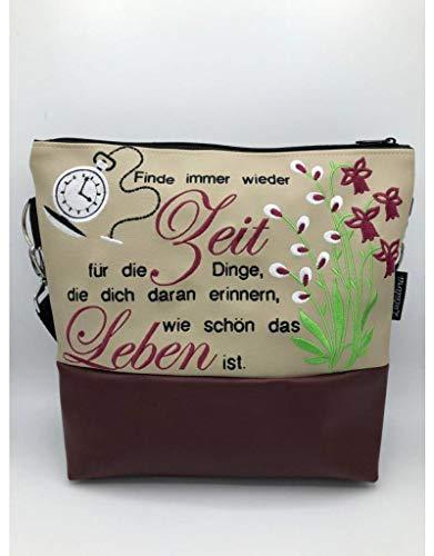 Handtasche Taschenuhr Zeit Schultertasche/Umhängetasche *bestickt