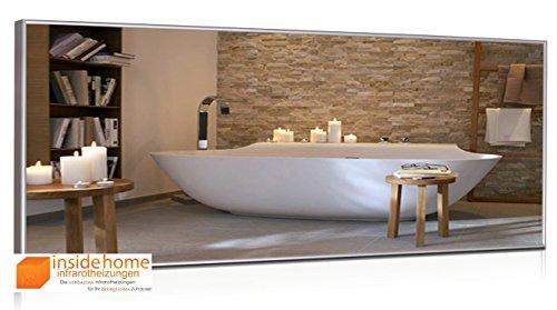 Infrarotheizung Spiegel mit Aluminium - Rahmen, 10mm - Spiegelheizung / 900 Watt - 140 x 60 x 2,5 cm