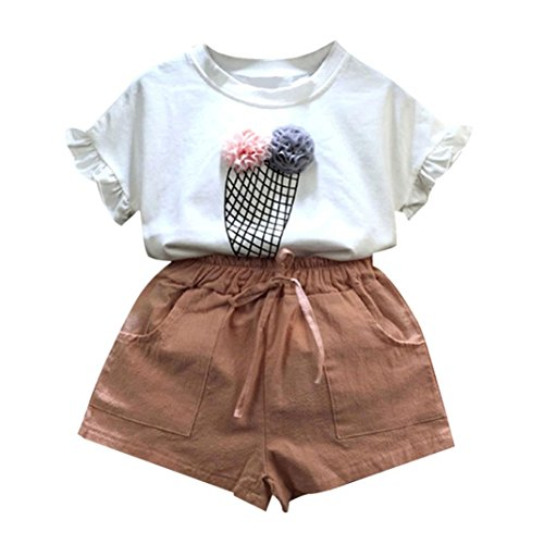 Longra Filles Vêtements Outfits T-shirt Hauts + Pantalons courts Ensemble O-Neck (140, Rose)