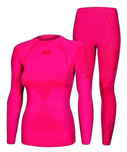 Seamless Funktionsunterwäsche Damen Thermo Extreme 2.0 Set Thermounterwäsche Skiunterwäsche Atmungsaktiv (rosa-rot, S/M)